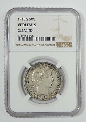 NGC Authentic 1915-S Barber Half Dollar  VF Details Silver 50c