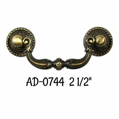 """2 1/2"""" COLONIAL REVIVAL DRAWER PULL- Cast Alloy Antique Brass Finish Bail Pull"""