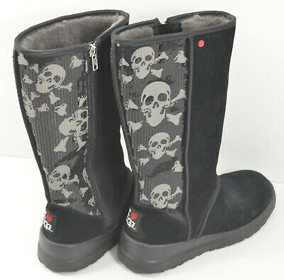 cbd58701d3a WOMEN'S UGG I Heart Kisses Black Sequin Skull Crossbone Short Boots ...