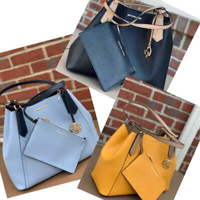 608dd2e8dc0a Michael Kors MK KIMBERLY Large Shoulder Bag Tote w/ Pouch Pale BLUE or  MARIGOLD