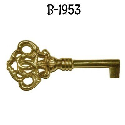 Antique Key Ornate Cast Brass Key Polished Skeleton Antique- Furniture Key