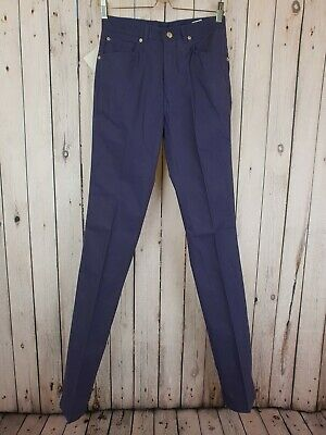 Vtg 1970s Deadstock Blue Cotton Skinny Fit Straight Leg Trousers W28 L36 B14