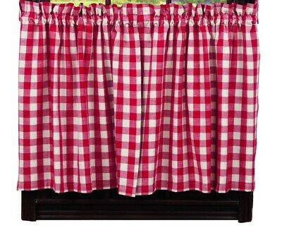 country rustic cabin farmhouse kitchen PICNIC RED & white plaid TIER curtains