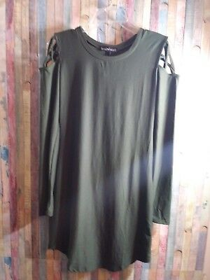 07ca18a0731a NWT women s derek heart long sleeve green dress size medium cross at  shoulders