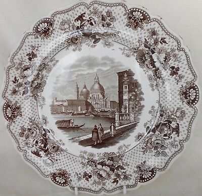 """Antique W. Ridgway Dinner Plate  - """"a View In Venice"""" - Italian Series - C.1830"""