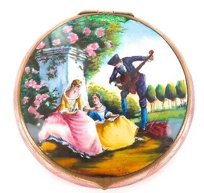 .Stunning / Vintage / Quality Guilloche Enamelled Ladies Compact.