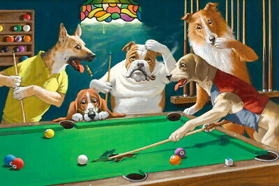 Art Giclee Print Dogs Playing Pool Billiards Oil painting Printed on Canvas P638