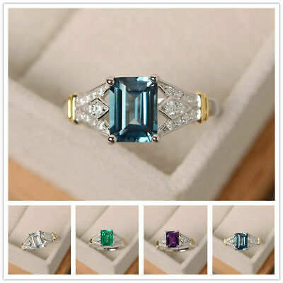 Elegant Women 925 Silver Wedding Rings Emerald Cut Birthstone Ring Size 6-10
