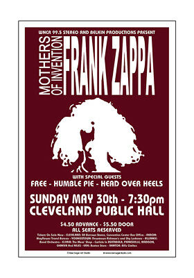 Frank Zappa / Free / Humble Pie 1971 Cleveland Concert Poster