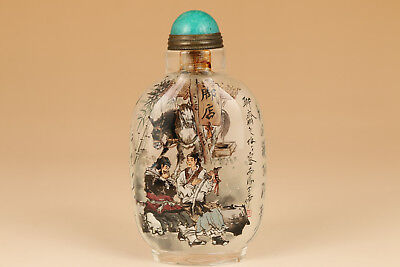 Antique Old Glass Hand Painting Hell Story gangster inn Statue Snuff Bottle