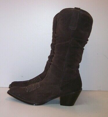 cac3f7f2bf1 PARIS BLUES BROWN Suede Western Boots Women's Size 7.5