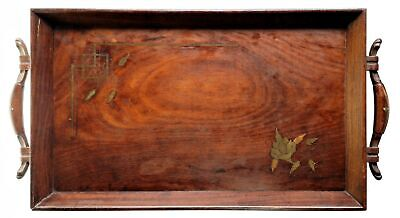 Antique Dovetail Wood Serving Tray with Brass Inlay Artisan Woodworker