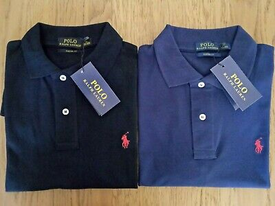 Custom Fit Men's Ralph Lauren Navy & Black Polo Shirt | Size M  | Limited Stock