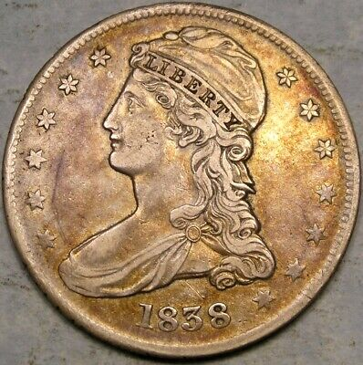 1838 Capped Bust Reeded Edge Silver Half Dollar Beautiful Very Scarce Gr-14 R.3*