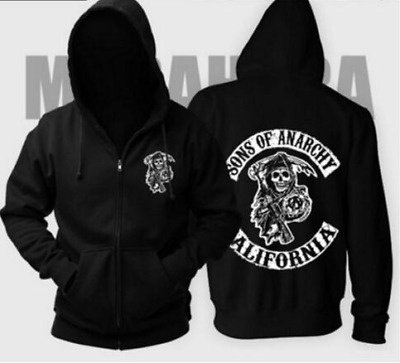 2019 S-XXL Sizes Sons Of Anarchy Back Unisex Printed Zipped Funny Hoodie Coat