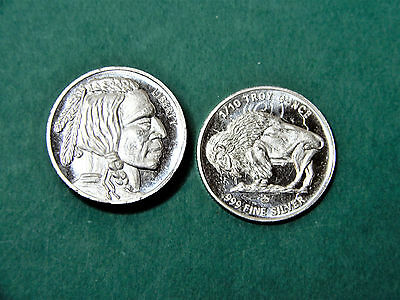 "One. Mpm 1/10 Oz. .999 Fine Silver Rounds - ""buffalo/indian Head""   #s156"
