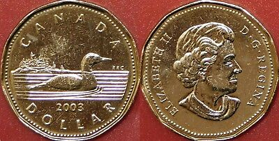 Brilliant Uncirculated 2003 Canada Uncrowned 1 Dollar From Mint's Roll
