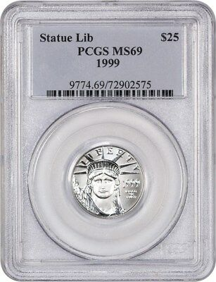 1999 Platinum Eagle $25 PCGS MS69 - Statue Liberty 1/4 oz