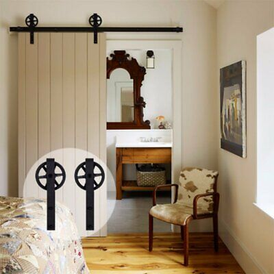 6.6FT Wood Sliding Barn Door Hardware Kit Black Steel Decoration Set
