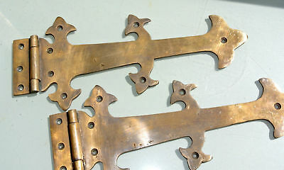 "2 Large hinges vintage aged old style solid Brass DOOR box heavy 11"" gate B"