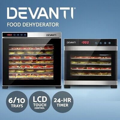 Devanti Food Dehydrators Stainless Steel Jerky Dehydrator Fruit Dryer 6/10 Trays