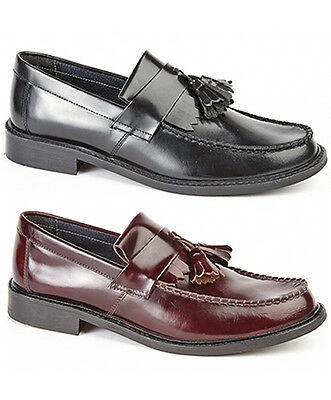 d0605095463 Mens Leather Loafer Shoes Black Oxblood Moccasin Deck Loafer Shoes UK 6 - 12