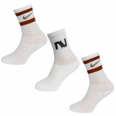 Nike Kids 3 Pair Pack Cushioned Youth Unisex Crew Socks White 565702 102 A162E