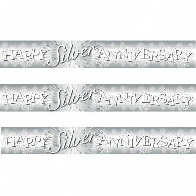 9ft SILVER /& WHITE  HAPPY ANNIVERSARY BANNERS repeat 3 times