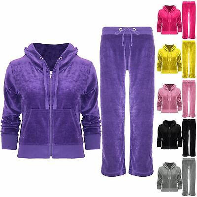 New Kids Girls Velour Velvet Hooded Long Sleeve Loungewear 2PCS Tracksuit Set