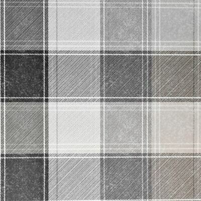 Country Tartan Check Mono Wallpaper Grey White Plaid Chequered Checked Arthouse