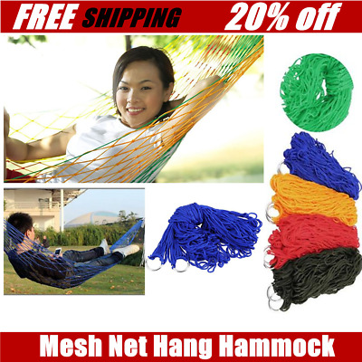 Indoor Outdoor Swing Thicken Nylon Fabric Hammock Mesh Net Hang Strong Rop BY