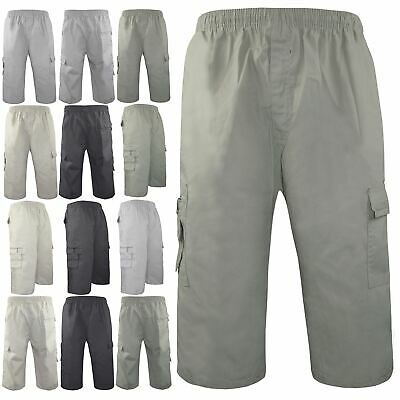 Mens Casual Cotton Summer Combat Elasticated Wasit Cargo Shorts Pants Trousers