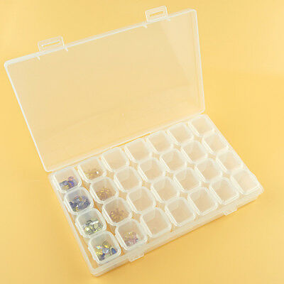 CO_ Clear 28 Grids Empty Storage Case Box Container Nail Art Jewelry Holder Box