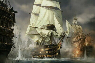 Wall Decor Art Print Warships Battle Scenes Oil painting Printed on Canvas P370