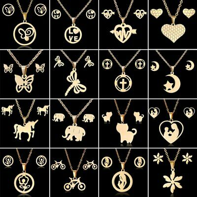 Fashion Gold Stainless Steel Necklace Earrings Mother's Day Gifts Jewelry Set