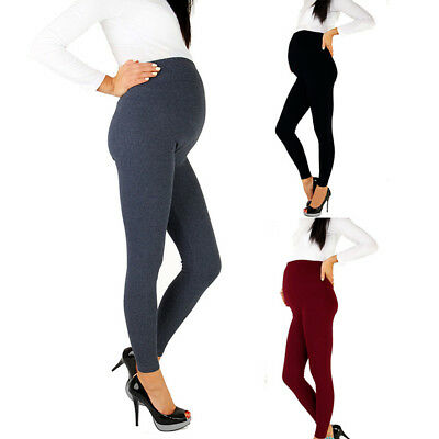 CO_ Solid Color Pregnancy Over The Belly Leggings Maternity Skinny Pencil Pants