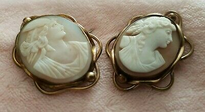 Beautiful Pair Of Antique  Carved Cameo Brooches