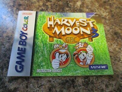 Harvest Moon 3 Iii Nintendo Gameboy Color ,manual Only Fast Shipping