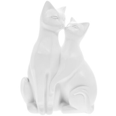 Adorable Cats Figure in Satin White Ideal Gift Gor Cat Lovers 21cm New Boxed.