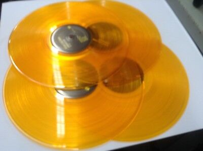 """Lot Of 4 Yellow Gold Colored Vinyl Lp 12"""" Records For Decorating & Crafts   Mint"""