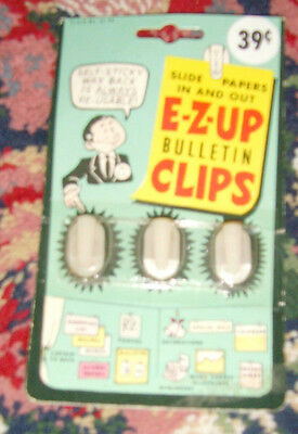 Vintage NIP e-z-up bulletin clips - slide papers in and out vintage office reuse