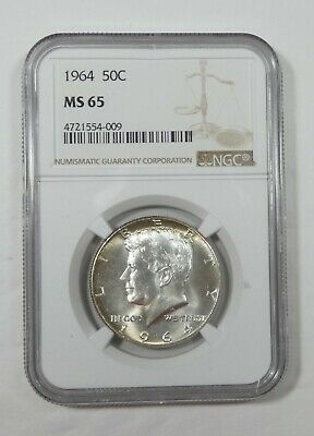 1964 Kennedy Silver Half Dollar CERTIFIED NGC MS 65 50c ~ Golden Toning