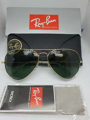 7d06b55288 Ray-Ban Gold Aviator Sunglasses with Green Lenses Rayban RB3025 Unisex