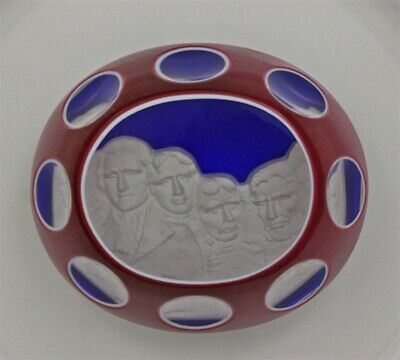 Ltd. Ed. Red White & Blue Faceted BACCARAT Crystal MT RUSHMORE Paperweight & Box