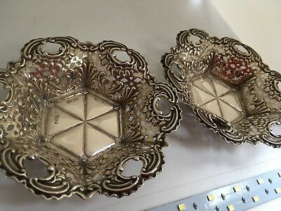 Very Pretty Pair Antique Victorian Silver Sweetmeat Dishes Sheffield 1900