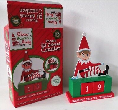 Christmas Counter.Wooden Elf Advent Counter Christmas Countdown Elf Decoration