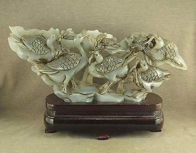 "9.6""Big With Carved Qing Dynasty Antique Jade Statue 5 Crane In Lotus Leaf"
