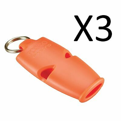 Fox 40 Micro 3-Chamber Pealess Whistle with Lanyard, Orange (3-Pack)