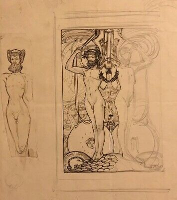 1930's FRENCH INK DRAWING MYTHOLOGICAL MALE NUDES SKETCH