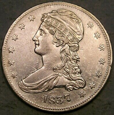 1837 Capped Bust Reeded Edge Silver Half Dollar Appealing W/Bold Sharp Features